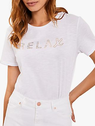 Mint Velvet Relax Slogan T-Shirt, White