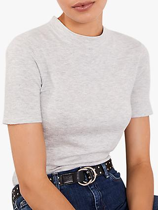Mint Velvet High Neck Fitted Top, Light Grey