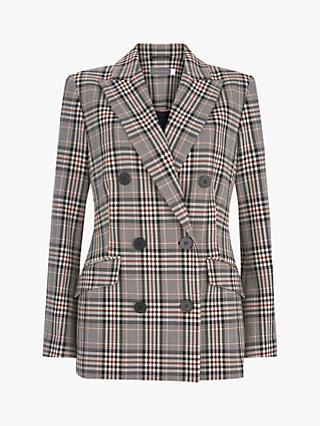 Mint Velvet Check Double Breasted Blazer, Ivory/Multi