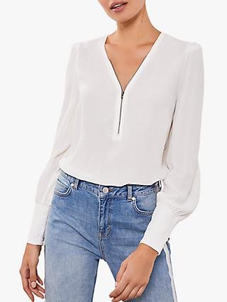 Mint Velvet Zip Puff Sleeve Top, Ivory