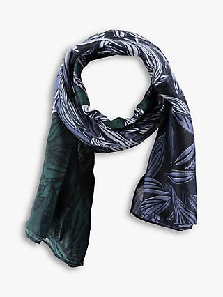 Betty & Co Leaf Print Scarf, Blue/Green