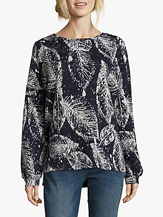 Betty & Co. Leaf Knit Jumper, Blue/Cream