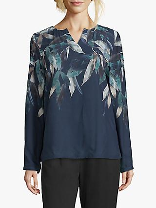 Betty & Co. Leaf Print Blouse, Blue/Green