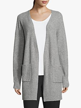 Betty & Co Fine Knit Patch Pocket Ribbed Cardigan, Silver Melange