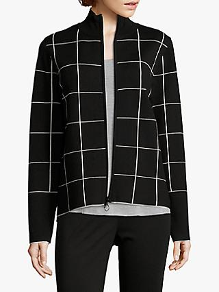 Betty & Co Check Knit Zip Through Cardigan