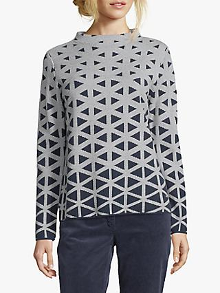 Betty& Co. Graphic Knit Jumper, Blue/Cream