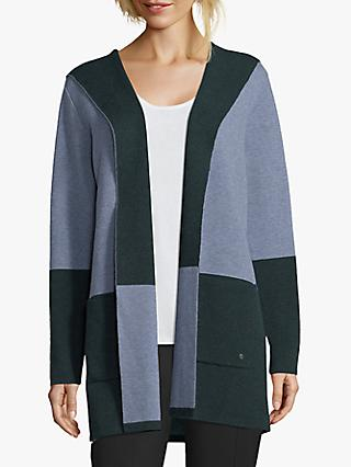 Betty & Co. Hooded Colour Block Cardigan, Light Blue/Green