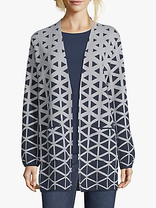 Betty & Co. Graphic Cotton Blend Knit Cardigan, Blue/Cream