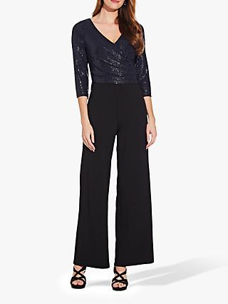 Adrianna Papell Sequin Knit Jumpsuit, Navy/Black