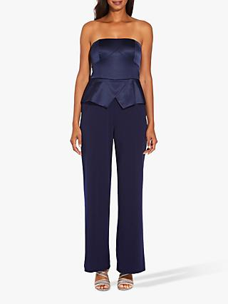 Adrianna Papell Strapless Jumpsuit, Navy