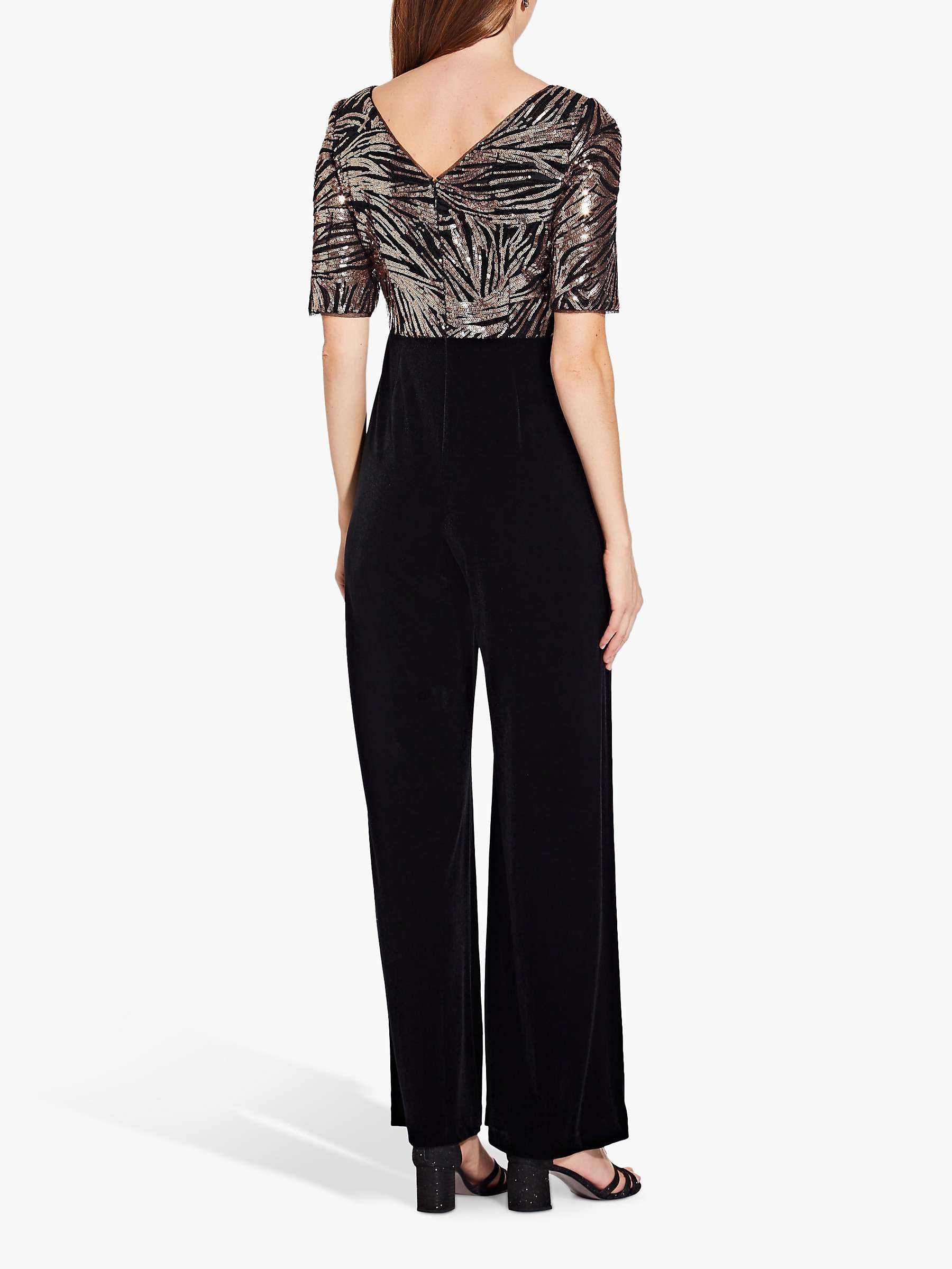Adrianna Papell Sequin Jumpsuit Black Rose Gold At John Lewis Partners