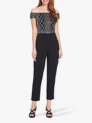 Adrianna Papell Crepe Beaded Jumpsuit, Black