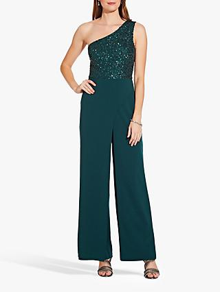 Adrianna Papell One Shoulder Bead Crepe Jumpsuit, Dusty Emerald
