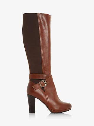 Dune Sebby High Block Heel Leather Knee Boots