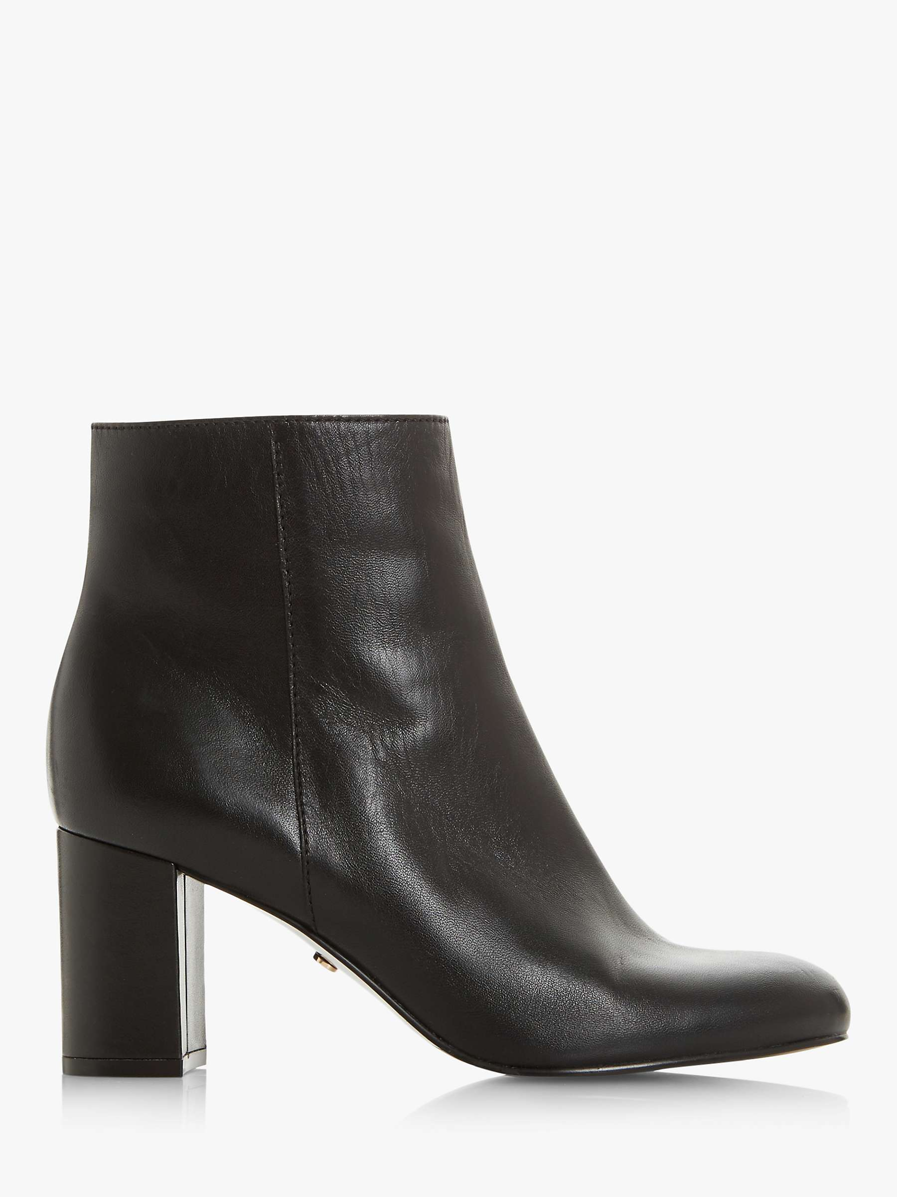 Dune Ovel T Leather Block Heel Ankle Boots, Black by John Lewis