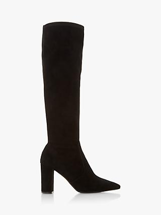 Dune Tampa Suede Block Heel Knee High Boots, Black