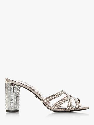 Dune Marida Diamante Embellished High Block Heel Sandals, Pewter Reptile