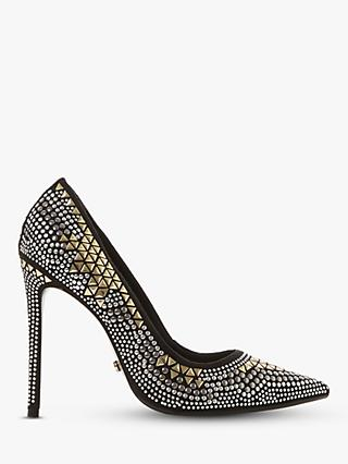 Dune Brienne Embellished Stiletto Heel Court Shoes, Black