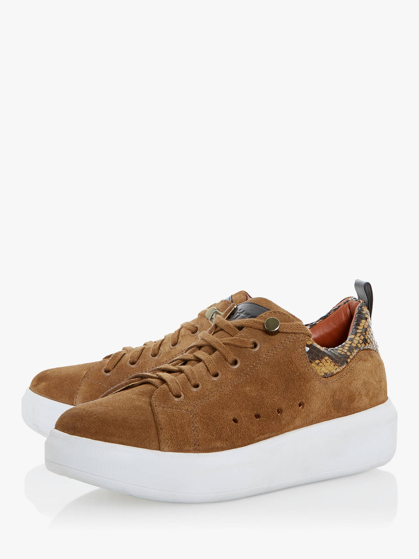 Buy Bertie Endure Suede Reptile Print Trainers, Tan, 3 Online at johnlewis.com