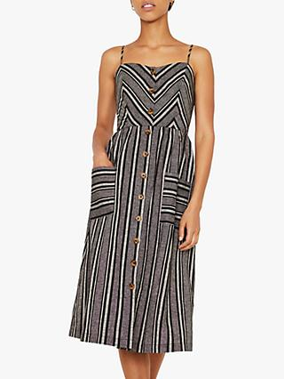 Warehouse Chevron Button Midi Dress, Black