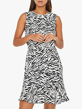Warehouse Zebra Print Flippy Dress, Black/White