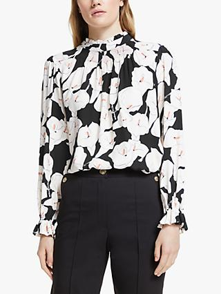 Somerset by Alice Temperley Lily Floral Smock Neck Blouse, Black/Multi