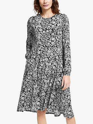 AND/OR Greta Floral Flare Dress, Black