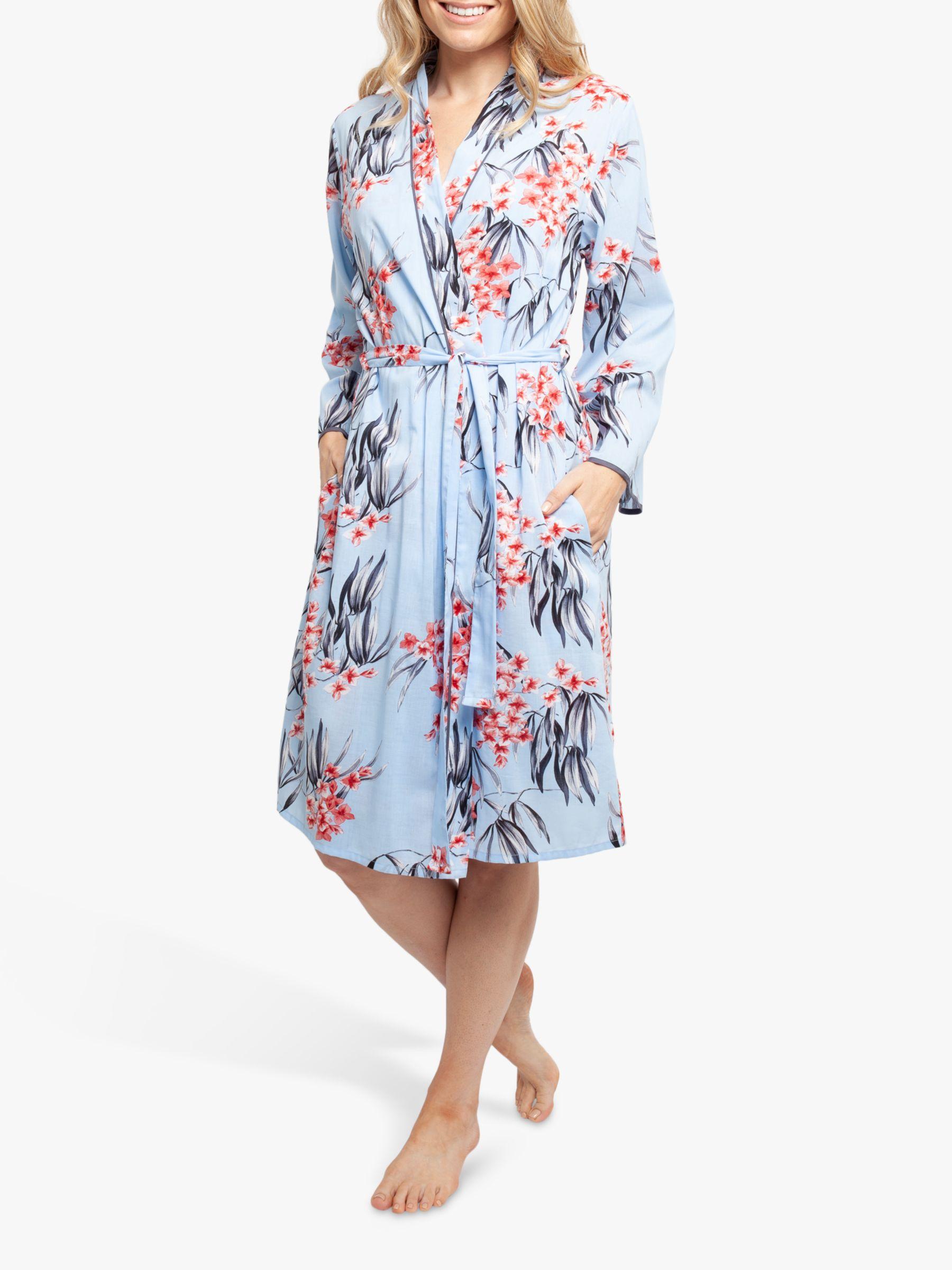 Cyberjammies Cyberjammies Olivia Floral Print Dressing Gown, Blue