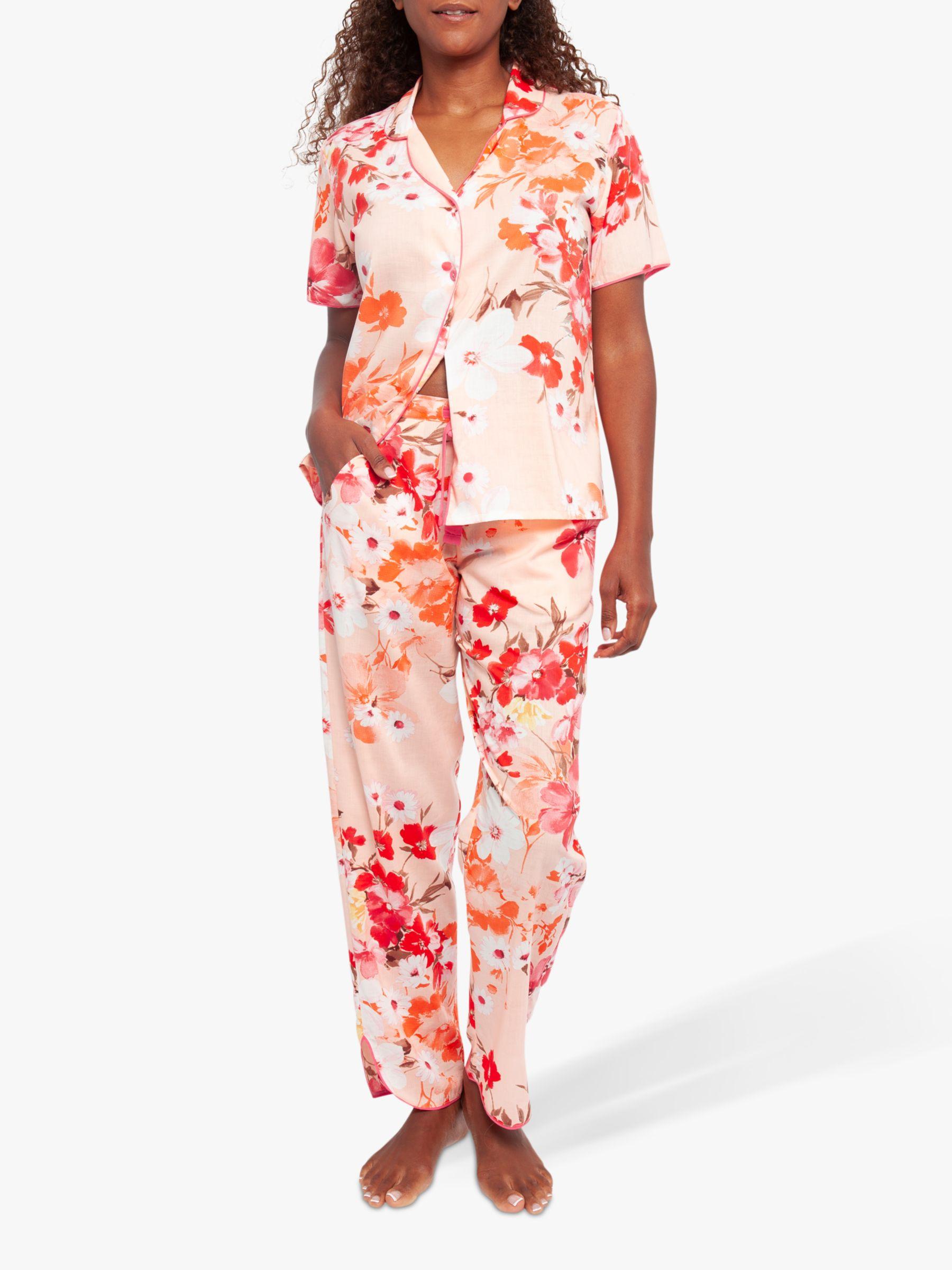 Cyberjammies Cyberjammies Darcie Botanical Print Pyjama Set, Pink/Coral