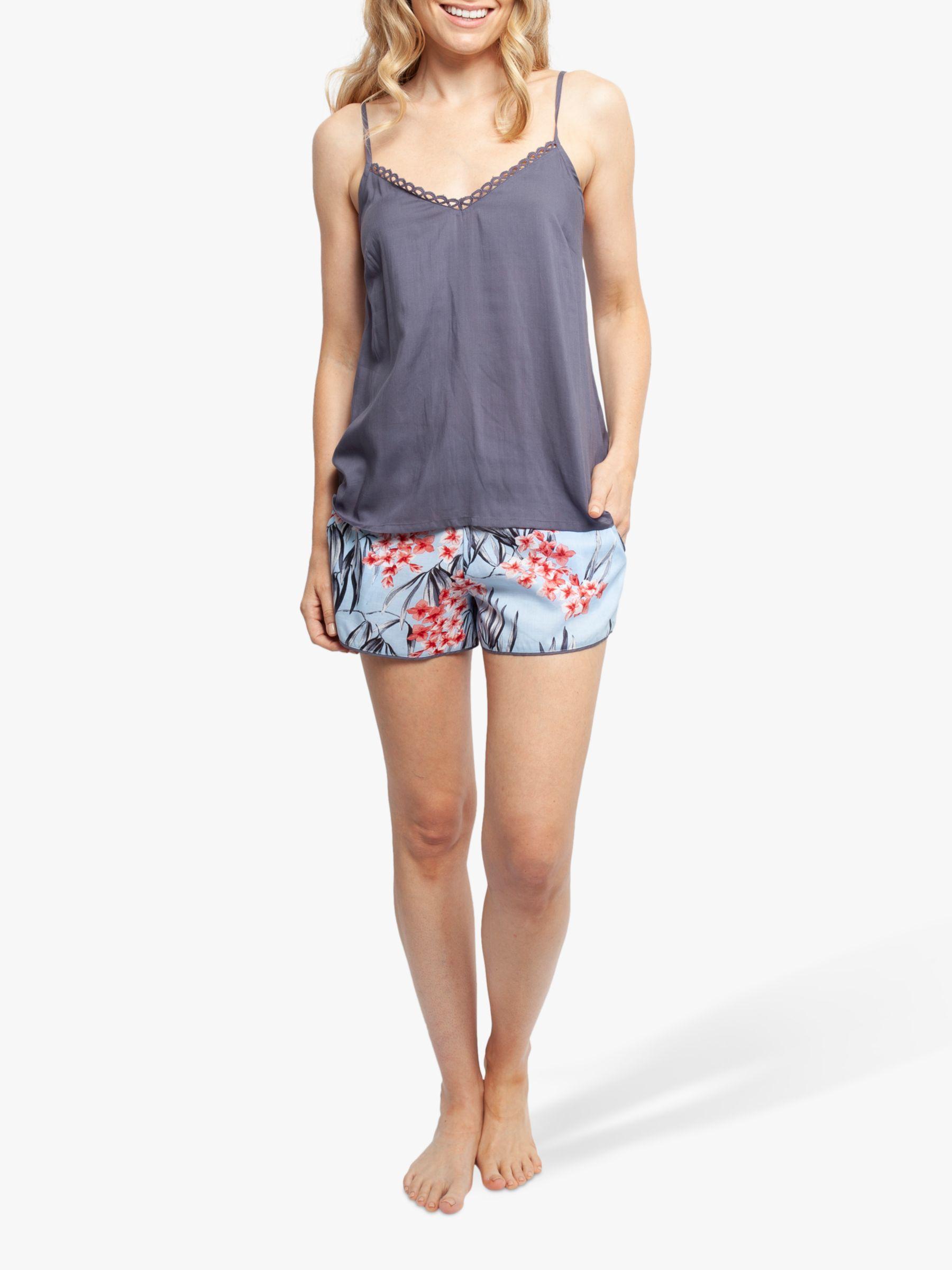 Cyberjammies Cyberjammies Olivia Floral Print Pyjama Shorts, Blue