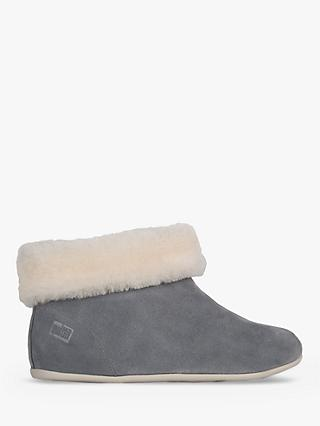 Fitflop Sarah Roll Cuff Boot Slippers, Elephant Grey