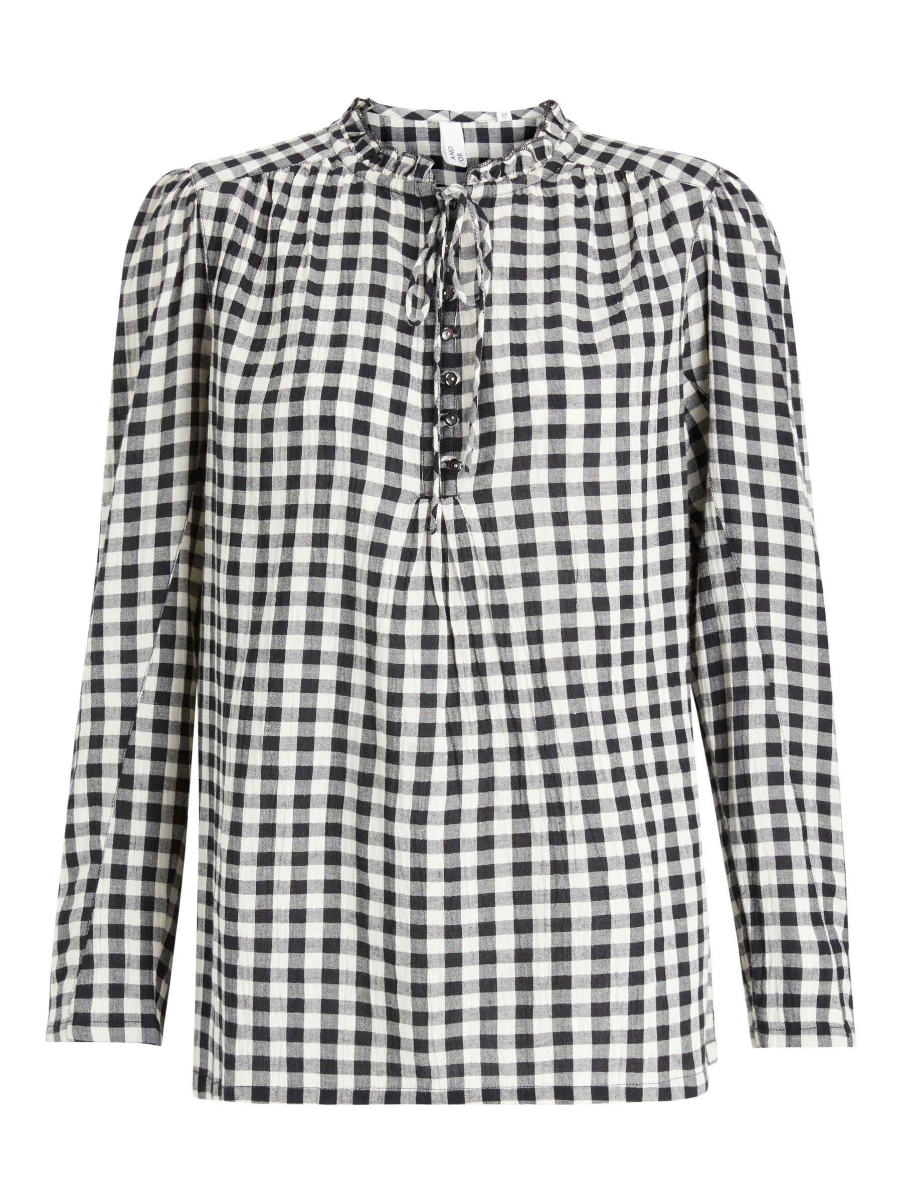 Buy AND/OR Maudie Check Shirt, Black/White, 8 Online at johnlewis.com