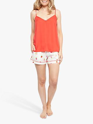 Cyberjammies Sophia Strawberry Print Camisole And Shorts Pyjama Set, Red/Multi