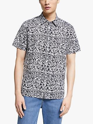Kin Abstract Geo Print Cotton Linen Short Sleeve Shirt, Navy
