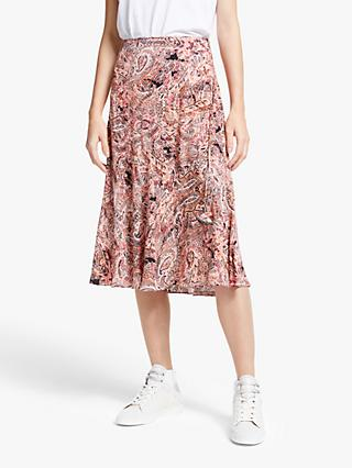 AND/OR Paisley Print Midi Skirt, Pink/Multi