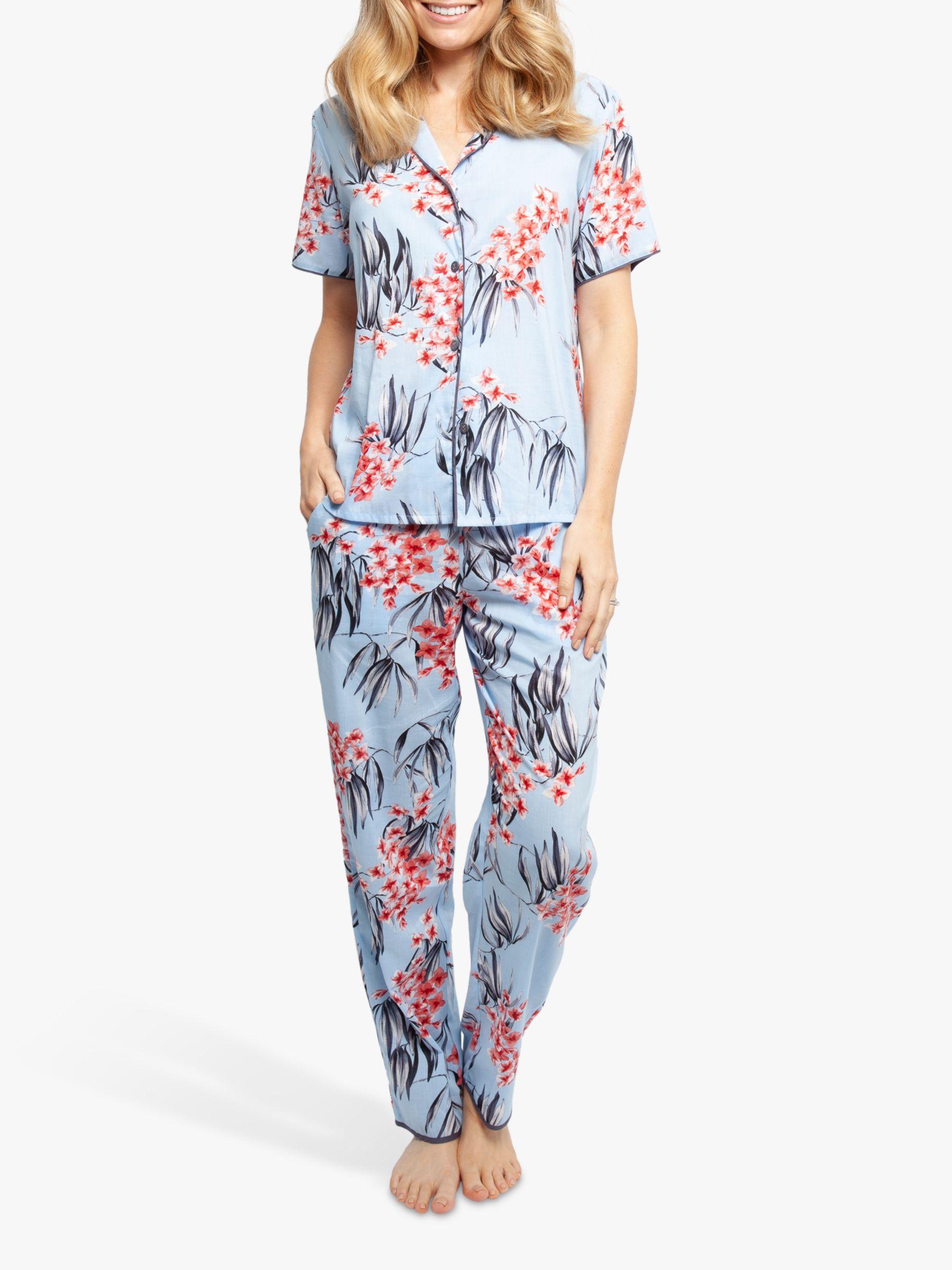 Cyberjammies Cyberjammies Olivia Floral Print Pyjama Bottoms, Blue