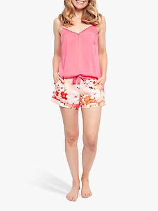 Cyberjammies Darcie Botanical Print Camisole And Shorts Pyjama Set, Pink/Coral