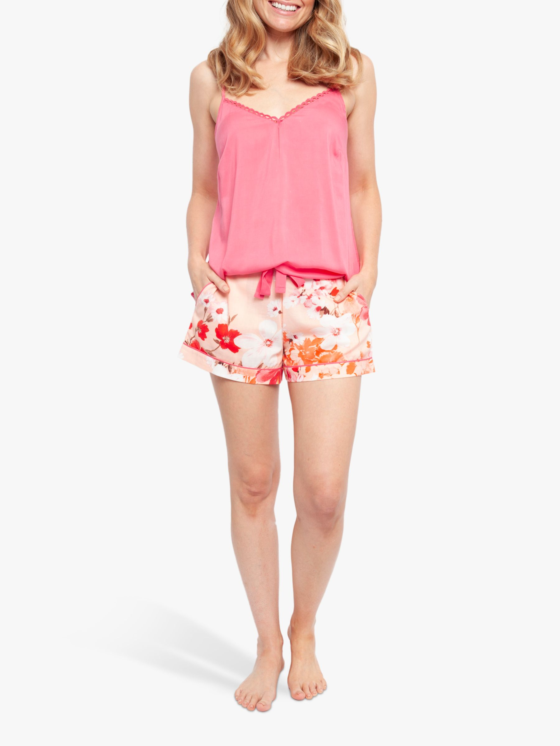 Cyberjammies Cyberjammies Darcie Botanical Print Camisole And Shorts Pyjama Set, Pink/Coral