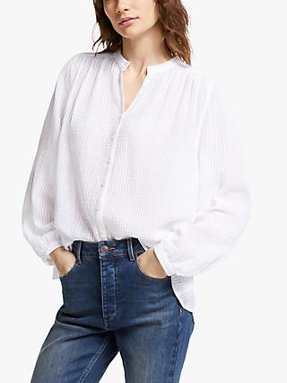 AND/OR Marcello Textured Blouse, White