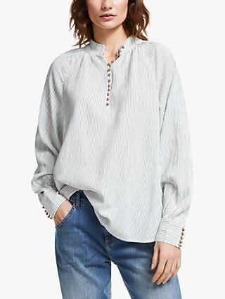 AND/OR Ivy Stripe Blouse, Ivory/Black