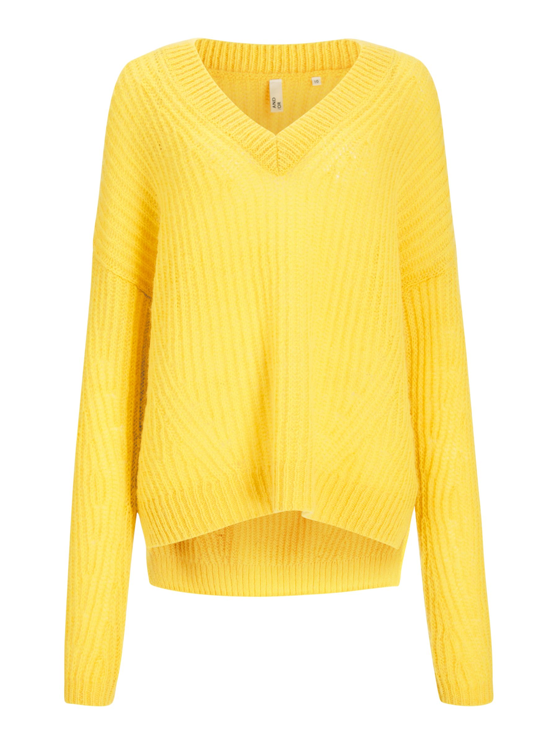 Buy AND/OR Bryony Textured Knit Jumper, Yellow, 8 Online at johnlewis.com