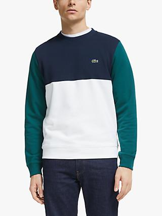 Lacoste Colour Block Sweat Top, Flour/Navy