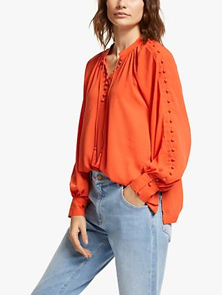 AND/OR Olivia Tassel Neck Blouse