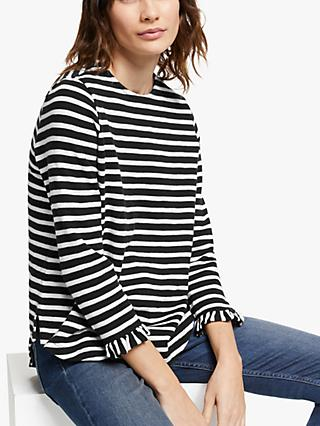 AND/OR Rae Ruffle Sleeve Stripe T-Shirt, Black/Ivory