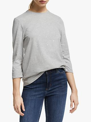 Collection WEEKEND by John Lewis Foil Flower Top, Grey/Silver