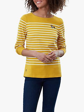 Joules Harbour Cotton Embroidered Top, Yellow