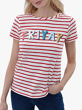Joules Nessa Friyay Jersey Cotton T-Shirt, Red/White