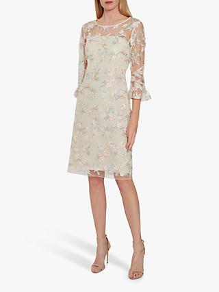 Gina Bacconi Armina Floral Embroidery Crepe Dress, Champagne/Multi