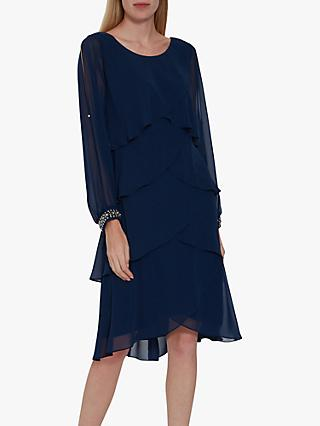 Gina Bacconi Sakura Tiered Dress, Navy