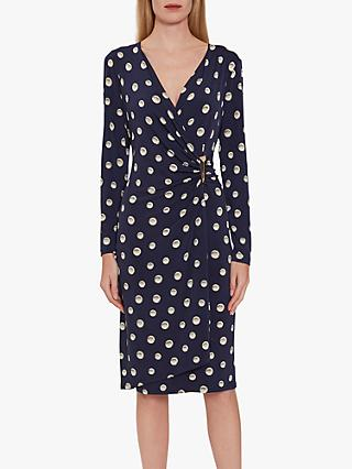 Gina Bacconi Pearla Jersey Spot Wrap Dress, Navy